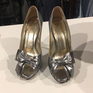 Valentino silver peep toe heels
